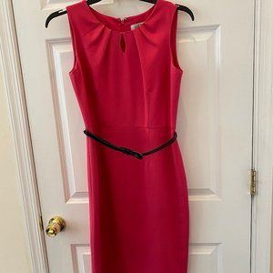 Keyhole Belted Career Work Cocktail Dress
